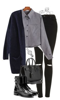 """""""Untitled #4743"""" by eleanorsclosettt ❤ liked on Polyvore featuring Topshop, Yves Saint Laurent and FOSSIL"""