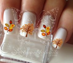 Autumn Tree Leaves Thanksgiving Nail Art Fall Water Decals Transfers Wraps