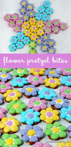 Flower Pretzel Bites So easy and if you order individual color M&Ms, perfect…