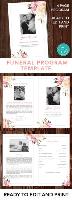 Pink flowers Printable Funeral program ready to edit \ print - funeral template download