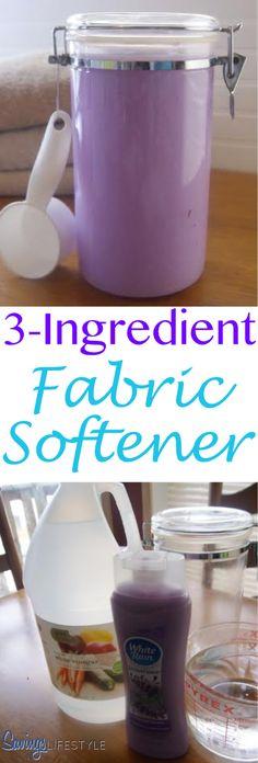 Quick, easy and inexpensive 3-Ingredient Fabric Softener recipe!