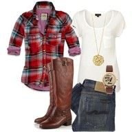 I like the deep color tones in the plaid shirt paired with the brown boots and denim.  Something to wear on a casual day.