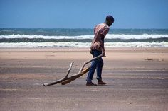 Working on the beach at the mouth of the Galana River just 10 Km north of Malindi town.