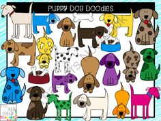 Clipart - Puppy Dog Doodles from Jamie Harnar on TeachersNotebook.com -  (34 pages)  - Adorable set of puppy dog clipart doodles.