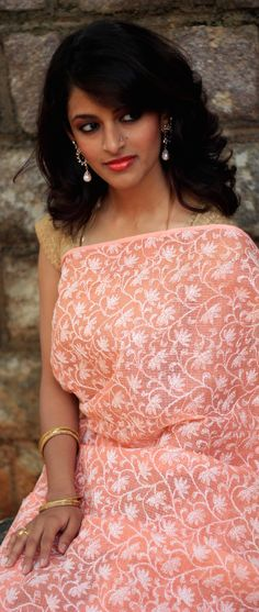 Hand embroidered Lucknow Chikankari Saree - myne by Aanchal - pin by @webjournal