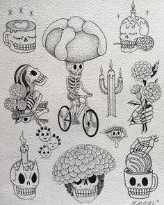 Halloween Tattoo Flash, Halloween Drawings, Desert Tattoo, Dessin Old School, Calavera Tattoo, Mexico Tattoo, Mexican Art Tattoos, Skull Coloring Pages, Folk Art Flowers