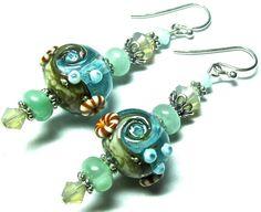 Lampwork Earrings Handmade Lampwork Beads SRA by SeeMyJewelry, $28.00