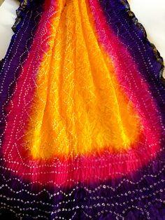 Rajasthani Silk Bandhani Dupatta Indian Long by PureIndianArt Bandhani Saree, Good Color Combinations, Maroon Dress, Shalwar Kameez, Indian Attire, Long Scarf, Tie Dyed, Dress Codes, Saree Blouse