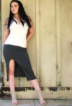 Simplicity Pencil Skirt with Slit by HerbanDevi on Etsy, $42.00