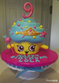 I had never heard of Shopkins prior to being asked to do this cake. This is the Cupcake Queen and while she took longer than I anticipated she was still fun to do. She is cocoa banana cake with vanilla buttercream. All the decorations are fondant...