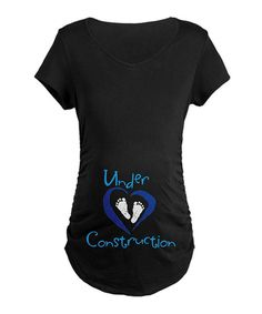 Take a look at this Black 'Under Construction' Maternity Tee - Women on zulily today!