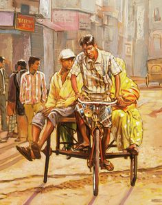 India Painting - North India Street Scene Detail View by Dominique Amendola Indian Artwork, Indian Art Paintings, Modern Art Paintings, Diwali Painting, India Painting, Composition Painting, India Street, Figure Sketching, Figure Drawing