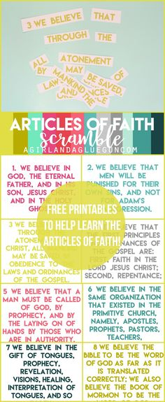 articles of faith scramble. free printables to help learn! Great for general conference!