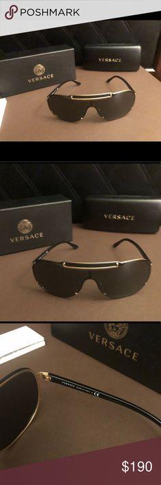 2fc9094b38d Versace Greca Shield Sunglasses authentic Versace greca black and gold  shield glasses . Glasses are brand
