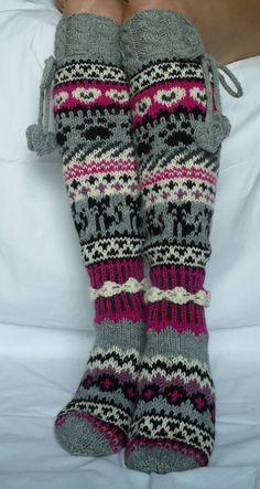 """""""On pehmeä Crochet Socks, Knitting Socks, Crochet Baby, Knit Crochet, Icelandic Sweaters, Winter Socks, Wool Socks, Fair Isle Knitting, Designer Socks"""