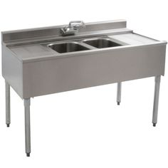 "Stainless Steel 2 Compartment Underbar Sink 48"" x 20"" with 2 12.5"" Drainboards"
