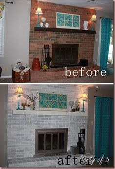 Whitewashed fireplace before and after...Wow!