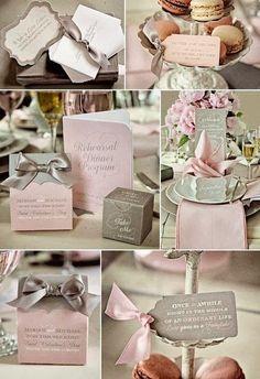 planche inspiration idées mariage rose gris personnalisé déco table pliage serviette & cadeaux d'invités Carnet d'inspiration mariage Mademoiselle Cereza