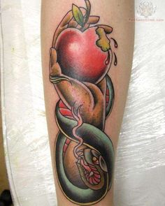 Snake And Eva Apple Tattoo