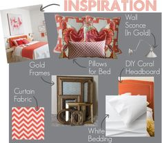 Inspiration Board: Gray   Coral Bedroom