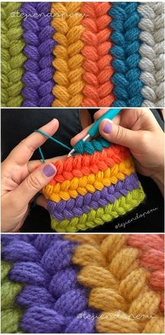 "Imagen relacionada ""Discover thousands of images about Trenzas puff de colores tejidas a crochet . Video tutorial del paso a paso"", ""Crochet puff stitch Puff Stitch Crochet, Crochet Diy, Love Crochet, Crochet Crafts, Crochet Flowers, Crochet Projects, Hat Crafts, Tutorial Crochet, Sewing Crafts"