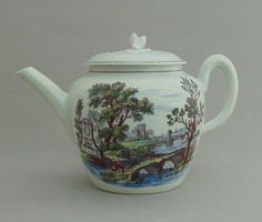 Lot 775 - A rare Worcester teapot and cover printed in purple by Hancock with Sutton Hall to front and