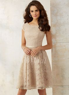 Bridesmaid Dresses - $125.60 - A-Line/Princess Scoop Neck Knee-Length Lace Bridesmaid Dress (0075119423)