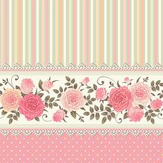 Vector seamless border with climbing roses Floral striped polka dot background Vintage ornamental card Raster version Decoupage Vintage, Vintage Diy, Vintage Paper, Polka Dot Background, Background Vintage, Paper Background, Background Patterns, Colorful Flowers, Pink Flowers