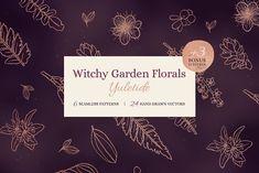 Witchy Garden Florals - Yuletide by Town City Lane on Design Elements, Design Art, Graphic Design, Cinnamon Love, Witchy Garden, Floral Pattern Vector, Image Editing, Hand Illustration, Tarot Decks