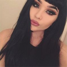 Beauty Black Straight Long Wig Silky Synthetic Hair with Bangs Full Wigs for Women Afro Wigs, Human Hair Wigs, Cabello Pin Up, Celebrity Wigs, Beauty Makeup, Hair Beauty, Corte Y Color, Grunge Hair, Lace Front Wigs