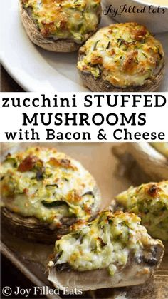 Cheese Stuffed Mushrooms with Bacon - Low Carb Keto Gluten-Free Grain-Free THM S - these are filled shredded zucchini bacon mozzarella and provolone. They mix up in just 5 minutes and are a great party appetizer or side dish. Uk Recipes, Low Carb Recipes, Italian Recipes, Healthy Recipes, Cheap Recipes, Healthy Lunches, Burger Recipes, Sausage Recipes, Keto Foods