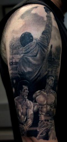 Rocky Balboa themed sleeve tattoo.