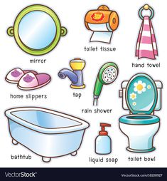 Vector illustration of Cartoon Bathroom element vocabulary English Verbs, English Sentences, English Vocabulary Words, Learn English Words, English Writing, English Study, English Grammar, Learning English For Kids, English Lessons For Kids