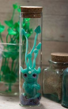 MADE TO ORDER newborn mushroomhead creature in glass by Furrykami