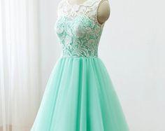 $88 Custom Lace Tulle Bridesmaid dress Prom Dress Mint Green Dress Knee Short Dress
