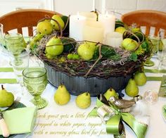 Combining soft moss and bright green pears with Autumn twigs and beautiful candles. A perfect fall feature for your next table. French Decor, French Country Decorating, Bohemian Wedding Decorations, Apple Decorations, Christmas Time, Christmas Tables, Christmas Ideas, Candle Centerpieces, French Country Style