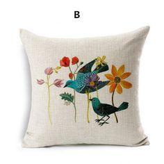 Minimalist style flower bird linen pillow for sofa cartoon car cushions