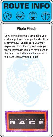 2009 Amazing Race Party Clues 13 15