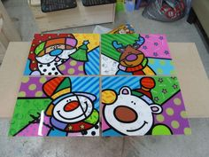 Juego Individuales Arte Britto Navidad. Winter Art, Winter Theme, Christmas Pictures, Christmas Art, Pop Art, Art For Kids, Crafts For Kids, Arte Country, Pintura Country