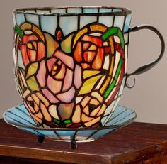 Tiffany Style Rosalee Stained Glass Teacup Accent Lamp New | eBay