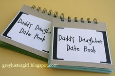 Daddy Daughter Date Book - great fathers day gift! A page to write the date, a little blip about what you did and pic from each date.wish my dad was still alive to do this with :( miss you daddy Diy Father's Day Gifts, Great Father's Day Gifts, Father's Day Diy, Craft Gifts, Daddy Daughter Dates, Daddy Day, Father Daughter, Diy Christmas Presents, Kids Christmas