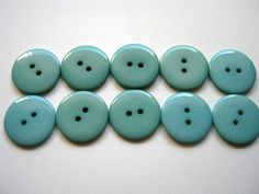 10 Plastic Teal Buttons 23mm