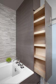 hidden shelves in the bathroom