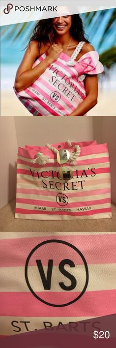 Victoria Secret Beach Bag Gently used Victoria Secret Beach Bag . One snap. Great size. Small spot as seen in pic. Still has plenty of good use. Sturdy rope handles. PINK Victoria's Secret Bags