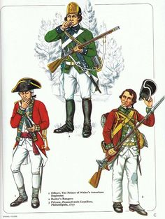 British; Loyalist Infantry Lto R Officer The Prince of Wales American Regiment, Butler's Rangers & Private Pennsylvania Loyalists, Philadelphia 1777 from an early Osprey Men at Arms (originally published possibly in 1980)