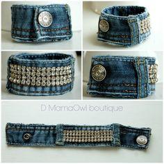 Bracelet Cuff en Denin Bleu Recyclé et Pierres par DMamaOwlBoutique