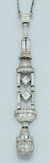 An Art Deco diamond pendant necklace. The diamond pendant of stylised lantern design, composed of articulated links of baguette diamonds with pavé diamond detail above and below, suspending a pavé diamond pear-shaped drop with square-cut diamond band detail to a platinum neckchain, circa 1925.
