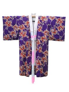 ☆ New Arrival ☆ #Women's #purple #antique #silk #Japanese #kimono with #floral #pattern from #FujiKimono
