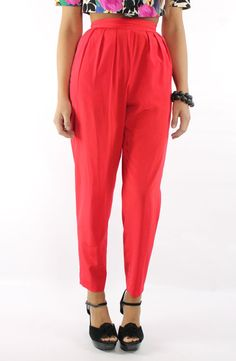 Vintage 80s High Waisted Pants Pleated Trousers by ScarletFury
