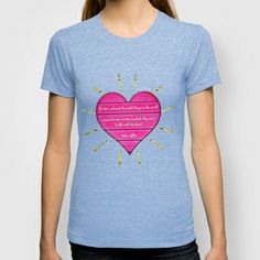 Felt with the Heart T-shirt, #society6 #fashion #tee #helenkeller #quote #heart #pink #teal #petergross
